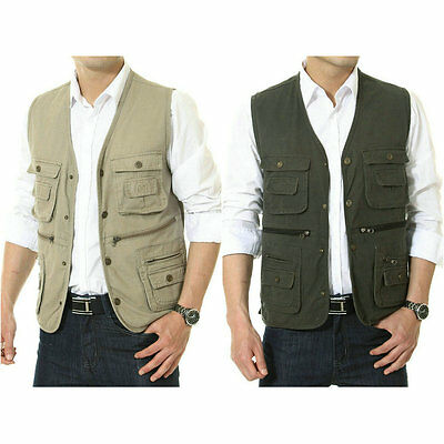 Mens Multi Pocket Vest Safari Journalist Cargo Travel Fishing Outdoor Vest