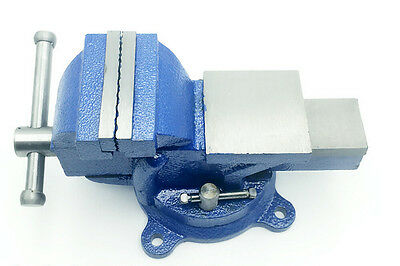 """5"""" Table Bench Vise Clamp Vise Heavy Duty Steel with Anvil Swivel Locking Base"""