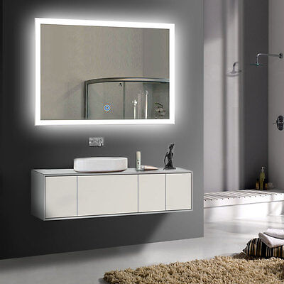 LED Bathroom Wall Mirror Illuminated Lighted Vanity Mirror with Touch Button