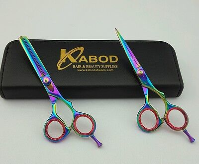 """Professional Hair cutting Shears 5.5""""  Titanium coated And Thinning Set"""