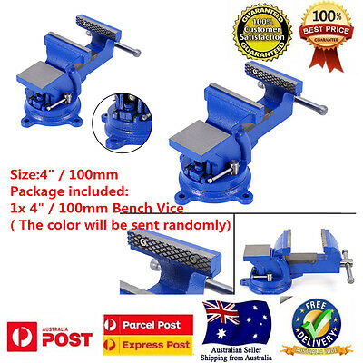 """4""""Heavy Duty Steel Bench Vise with Anvil Swivel LockingBase Tabletop Clamp 100mm"""