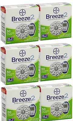 Bayer Breeze 2 Blood Glucose Test Strips 300 (6x50) EXP 9/2017
