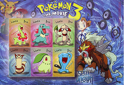 Liberia 2001 MNH Pokemon 3 The Movie Spell of Unown 6v M/S II Furret Stamps