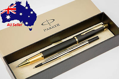 PARKER IM Premium Matte Black with Gold Trim Rollerball Pen - Boxed+Extra Refill