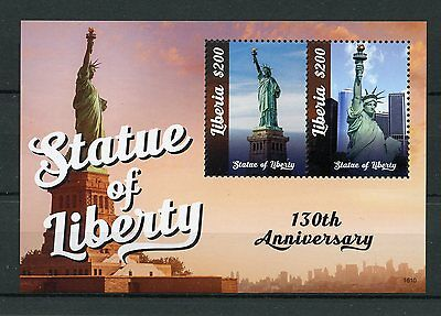 Liberia 2016 MNH Statue of Liberty 130th 2v S/S II New York Architecture Stamps