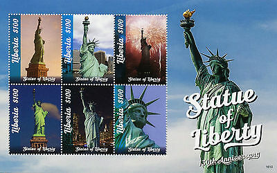 Liberia 2016 MNH Statue of Liberty 130th Ann 6v M/S New York Architecture Stamps