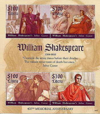 Liberia 2016 MNH William Shakespeare 400th Memorial Julius Caesar 4v M/S Stamps