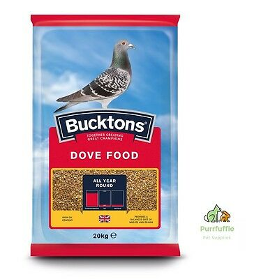 20KG BUCKTONS DOVE FOOD Wheat Maize Rapeseed Red Dari Barley Linseed Mix