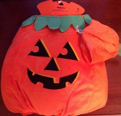 NEW CLAIRE'S Dog or Cat Halloween Costume PUMPKIN 2 pieces LARGE with Hat