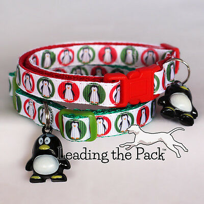 Custom printed Christmas festive penguin cat safety collar with bell