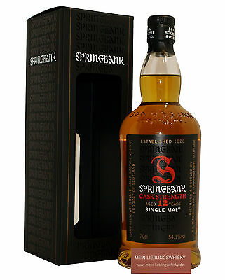 Springbank 12 Jahre Cask Strength Single Malt Whisky 54,1% vol. - 0,7 Liter