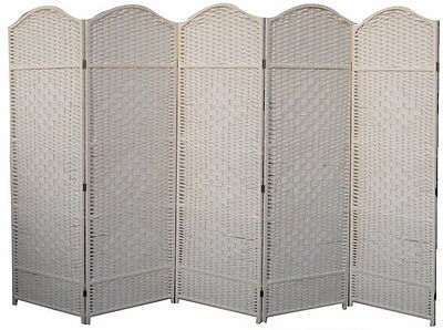 Cream 5 Panel Dress Screen Classic Woven Partition Divider