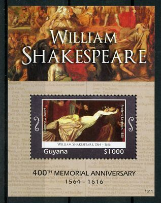 Guyana 2016 MNH William Shakespeare 400th Memorial 1v S/S Romeo & Juliet Stamps