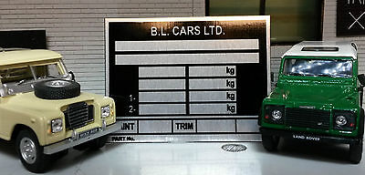 Land Rover late Series 3 88 109 Petrol Diesel Chassis Information Plate Plaque