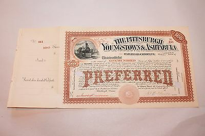 18XX The Pittsburgh Youngstown and Ashtabula Railway Company Stock Certificate