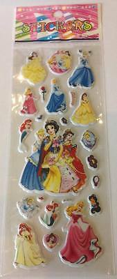 NEW 2 Sheets of Disney Princess Puffy Stickers - Parties, loot bags & crafts
