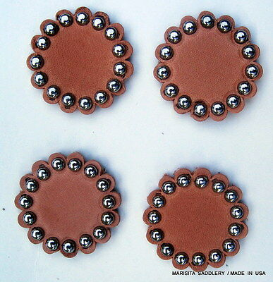 """4 CHOCOLATE LEATHER ROSETTES//CONCHOS-BRASS SPOTS-1.5/""""-USA MADE FREE SHIPPING"""