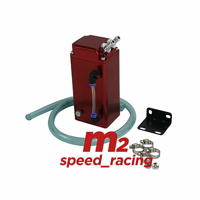 1L OIL CATCH SQUARE GREDDY-STYLE BILLET ENGINE RESERVOIR BREATHER TANK/CAN (Red)