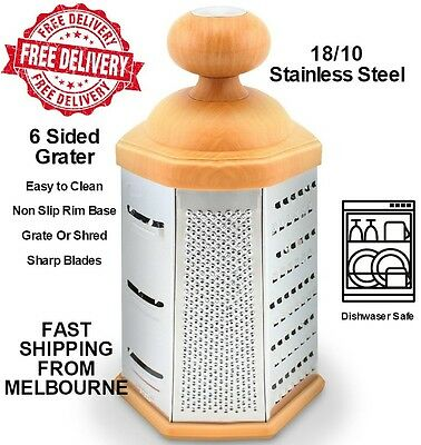 NEW Deluxe Six Sided Box Grater Stainless Steel Vegetable Cheese Multi Purpose