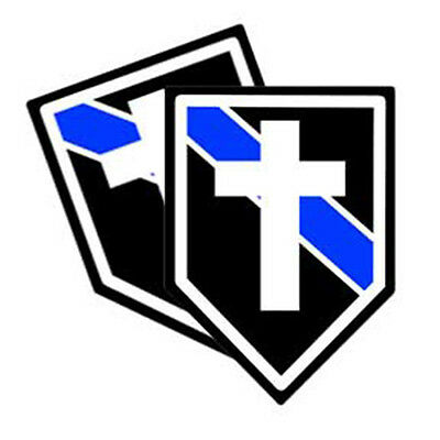 Thin Blue Line Chaplains Cross Decals Pack Of Two
