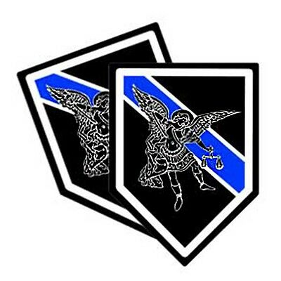 Thin Blue Line St. Michael  Patron Saint Decals Pack Of Two