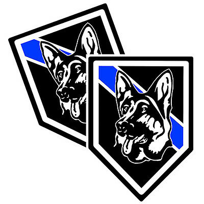 Thin Blue Line German Shepherd Police K9 Canine Decals Pack Of Two