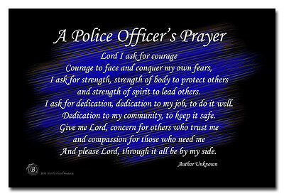 A Police Officer's Prayer Black and Blue 8x12 Metal Sign