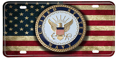 Distressed American Flag US Navy Emblem License plate