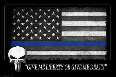 Two Thin Blue Line American Flag Punisher Two 11x17 Posters