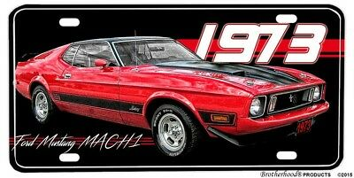 1973 Ford Mustang MACH 1 Aluminum License Plate or Man Cave Sign