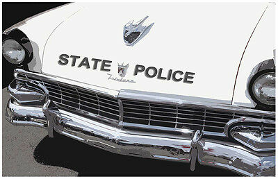Old Ford Fairlane State Police Car 24x36 Inch Poster