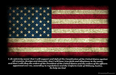 Military Oath American Flag 24x36 Inch Poster