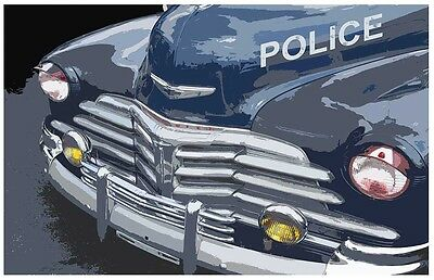 Old Chevrolet Police Car 24x36 Inch Poster