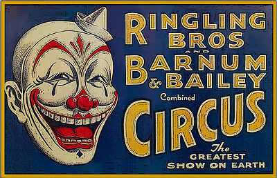 Ringling Brother's Circus White Hat Clown 11x17 Poster Buy One Get One
