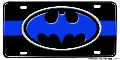 Batman Blue Line Aluminum License Plate - The Ultimate Crime Fighter
