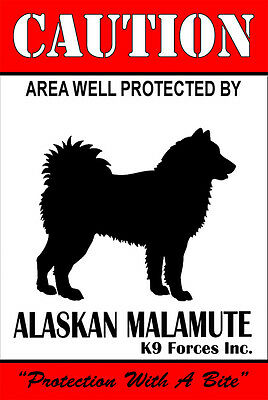 Protected By Alaskan Malamute K9 Forces 8x12 Metal Sign