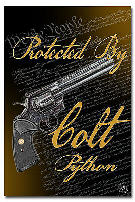 We The People Protected by Colt Python 8x12 Metal Sign