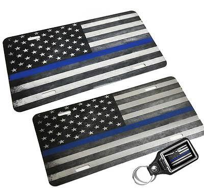 Two In One Thin Blue Line Subdued American Flag License Plate & Key Ring