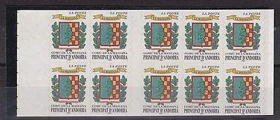 French Andorra  Booklet Pane Coat Of Arms  No 2  Mnh