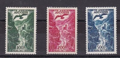 French Andorra  1955 - 57  S G F163 - F 165 Air Postage Set Cat £250  Lmh No 2