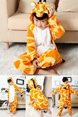 Kids Giraffe Onesie Kigurumi Animal Pajamas Unisex Cosplay Costume Sleepwear