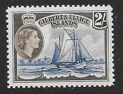 Gilbert & Ellice Is. Sg72 1956 2/- Deep Blue & Sepia  Mnh