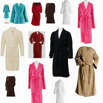 Mens & Womens 100% Cotton Terry Towelling Shawl Collar Bath Robe Dressing Gown.