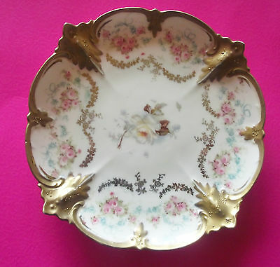 """Antique Rs Prussia Dish Tiny Pink Roses Heavy Gold Accents Red Mark 6 1/2"""" Dia"""