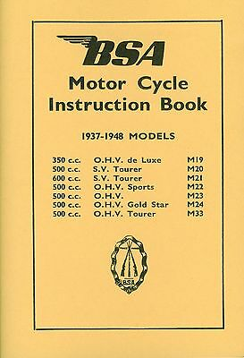 BSA Book M20 M21 M22 M23 M24 M33 Gold Star Reprinted Instruction Manual