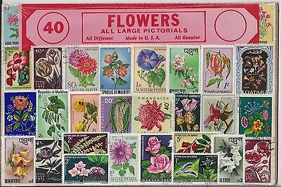 Packet of 40 Flower Stamps All Different