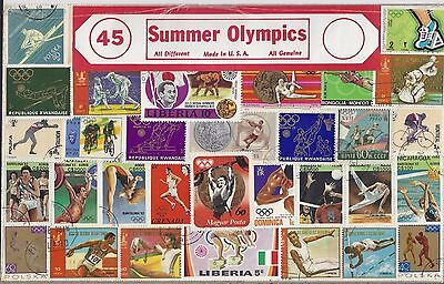 Large Packet of 45 Summer Olympics Stamps All Different
