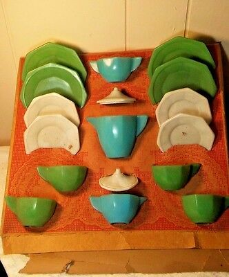 Vintage Akro Agate 17 Pc. Little American Maid Tea Set # 335 With Original Box