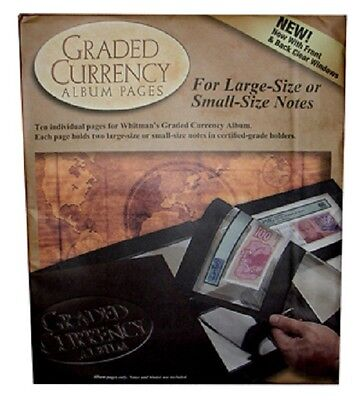 Certified Banknotes 10 REFILL PAGES For SMALL US Graded Currency PMG Album NEW