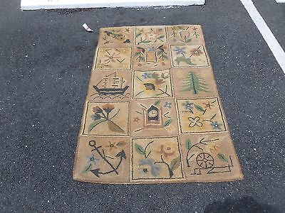 Whimsical Vintage Hooked Rug With Sailing Ships And Clocks